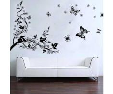 BestOfferBuy Romantici Stickers da Muro in 3D con Decalcomania di un Albero con Farfalle