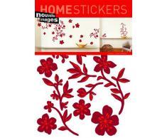 1art1 - Adesivi murali a ghirlanda di fiori, 70 x 50 cm, colore: Rosso ohne rahmen