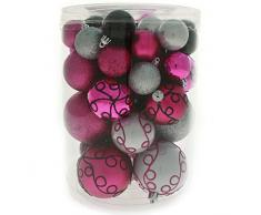 Chi palle di Natale 50 pezzi di plastica Deluxe Natale, infrangibile, decorazioni di Natale nella confezione in varie dimensioni e modelli, rosa / argento / nero