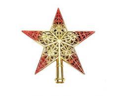 Puntale per albero di Natale, graziosa e brillante decorazione a forma di stella
