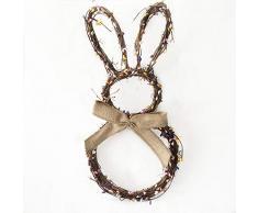 MAyouth Ciondolo Decorazioni per Pasqua, A Mano Carino, Bella Corona di Rattan Coniglio con Fiocco