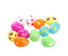 PONCTUEL ESCARGOT Confezione da 12 Uova di plastica Colorate per la Caccia all'uovo di Pasqua