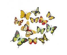 EOZY-3D Colorato Farfalla Adesivo da Parete Frigo Vetro Finestra 12pcs in set-Serie Giallo