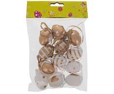 """1,6 """"Set di 12 miniature Oro e bianco plastica uova di Pasqua decorazioni"""