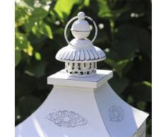 Grafelstein Chalet Lanterna, stile rustico, altezza 40 cm, con dettagli romantici. Colore: bianco opaco.