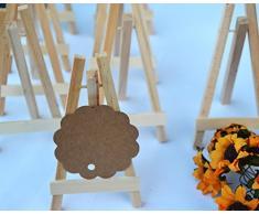Set di 50pz Mini Cavalletto in legno naturale Segnaposto Decorazione da tavolo