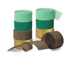 NICROLANDEE Decorazioni per feste di nozze, 8 rotoli di carta crespa verde stelle filanti nappe filanti per decorazioni rustiche da sposa, compleanni, baby shower, vintage, decorazioni per feste