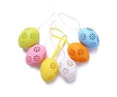 Demiawaking Uova di Pasqua da Appendere in Plastica Fai da Te Uova di Pasqua Decorative Decorazioni Pasquali Ornamenti Uova di Pasqua Colorate Finte Giocattoli per Bambini (10 Pezzi)