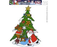 Widmann - Vetrofania Albero di Natale con Babbo Unisex-Adult, Multicolore, Taglia Unica, VD-WDM1236W
