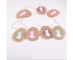 Baanuse Pasqua Coniglietto Decorazioni, Easter Bunnies Bunting, Egg Hunt Party Decoration, Burlap Rabbit Garland Banner