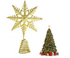 EKKONG Puntale per Albero di Natale, Albero di Natale Argento,Puntale Albero Natale Glitterato Stella Albero di Natale, Punta Albero di Natale (doro)