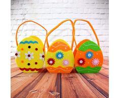 Amosfun Cestini Portaoggetti Caramelle in Tessuto con Manico Cesto di Uova per Decorazione Pasqua (Colore Casuale)