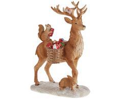 Villeroy & Boch - Winter Collage Accessoires Cervo con animali del bosco, decorazione pendente dal design elegante per l'albero di Natale, poliresina, colorato, 14,5 x 9 x 21 cm