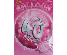 AMSCAN International - Palloncini in alluminio olografico per feste di compleanno, 46 cm, colore: rosa, confezione da 40 pezzi