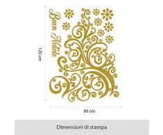 NT0379 Adesivi Murali - Riccioli festosi - Vetrofanie natalizie - 110x150 cm - Oro - Decorazioni vetrine per Natale, stickers, adesivi