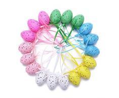 18pcs Uova di Quaglia Finte Uova di Pasqua da Appendere Uova Dipinte a Mano di Pasqua Decorazioni Pasquali Ornamenti Pendenti Giocattoli per Bambini