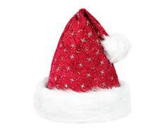 Cappello da Babbo Natale con Pon Pon e Bordo in felpa (wm-01) Rosso Bianco per Adulti Uomo Donna di Alsino