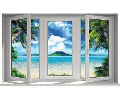 Stickersnews - Adesivo da finestra trompe l'oeil, Maldive F26, 130 x 80 cm