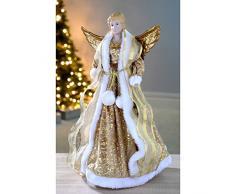 WeRChristmas Punta per albero di Natale, motivo: Angelo, 44 cm, Oro (Gold)