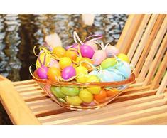 Kamaca, 48 uova di Pasqua colorate in plastica con nastrino da appendere, in plastica, per interni ed esterni, grande decorazione pasquale, Plastica, Multicolore, 48 Stück pastell 4cm