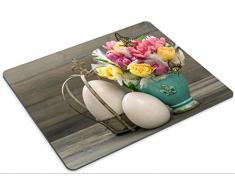 Luxlady Mousepads tulipano fiori con uova di Pasqua vintage decorazione stile retrò tonica immagine 28440187 Customized Art desktop laptop Gaming Mouse pad