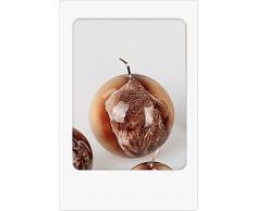 Formano Candela sferica a Forma di Foglia, Castagno Lucido, Crema Marrone con Foglie Decorate a Mano