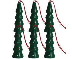 BRUBAKR Sculture natalizie, raffiguranti alberi di abete, realizzate in legno di alta qualità e dipinte a mano - ideate per essere appese all'albero di natale - decorazione natalizia da sei pezzi