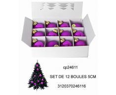 Idea Natale: Set 12 palle palline natalizie viola liscie per addobbi albero di Natale