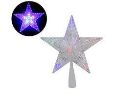 TAIPPAN Puntale per Albero di Natale a Forma di Stella con luci LED Che cambiano Colore Automatico, Impermeabile, Decorazione per la casa
