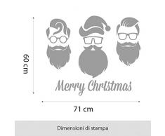 NT0010 Adesivi Murali - Babbo Natale - Vetrofanie natalizie - 71x60 cm - bianco - Decorazioni vetrine per Natale, stickers, adesivi