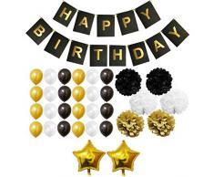 BELLE VOUS 33 Pezzi Accessori Decorazioni Oro, Bianco & Nero PON PON, Palloncini in Lattice e Foil e Striscioni per Compleanno & Feste - Kit per Ragazze, Ragazzi e Adulti