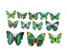 EOZY-3D Colorato Farfalla Adesivo da Parete Frigo Vetro Finestra 12pcs in set-Serie Verde