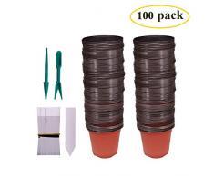 Huvai 100 pz 10,2 cm plastica vasi di piante piantine nursery con 100 pezzi di plastica impermeabile vegetali tag e 2PCS/set trapianto scavare mini Tools