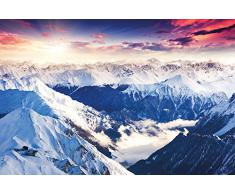 Fotomurales Alpi Panorama Quadro Decorazione Inverno Tramonto Neve Paesaggio Natura Montagne Ghiacciaio Monti I Decorazione da parete Immagine Fotomurales by GREAT ART (210x140 cm)