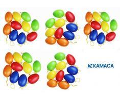Kamaca, 48 uova di Pasqua colorate in plastica con nastrino da appendere, in plastica, per interni ed esterni, grande decorazione pasquale, Plastica, Multicolore, 50 Stück bunt 6 cm