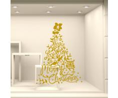NT0347 Adesivi Murali - Holly Jolly Christmas - Vetrofanie natalizie - Misure 82x120 cm - oro - Vetrine negozi per Natale, stickers, adesivi