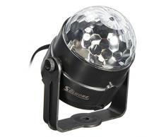 Luci Discoteca LED, SOLMORE Mini Luci da Palco Attivazione Vocale palla Lampada Magica LED RGB Effetto Fase Luci di Colore Cristallo Lampada da Discoteca Rotante Sfera per Festa Compleanno Discoteca Bar DJ