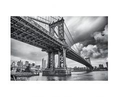 GREAT ART® XXL Poster – Manhattan Bridge New York USA – Decorazione Motivo Skyline City Città Turistica Attrazione Sightseeing Foto in Bianco e Nero Fotomurale 140 x 100 cm