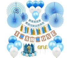 ZNZ 1st Birthday Party Decorations Boy - Primo Decorazione Festa di Compleanno per Bambini Kit Blu, Bandierine Stelle Filanti Palloncini Hanging Fan di Carta Set Cake Topper Cappellino 1 Anno Fascia