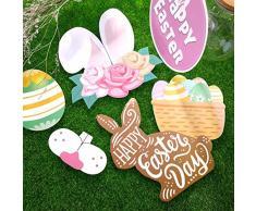 Sayala 44 pezzi Puntelli di Photo Booth di Pasqua - decorazioni di Pasqua - Puntelli di foto di compleanno,Bunny Easter Fotografando Dress-up Acessories Regali pasquali per feste