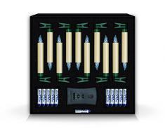 Krinner Lumix Classic Basis 74322 - Set di 10 candele LED senza fili, a pile con telecomando a infrarossi, per albero di Natale, luce bianca calda, colore avorio