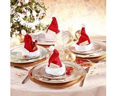 Funnythings, Set di 4 cappelli di Babbo Natale, segnaposto, decorazione per la tavola
