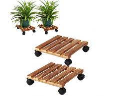 2 pezzi Fioriera in Legno Naturale Mobile per Piante, Supporto per vasi e Piante Rolling con bloccaggio Ruote per Interni o Esterni,Quadrato 30 cm