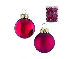 24 PZ. Fatti a mano palle Ø 4 cm vetro laccato Natale rosso opaco e lucido, palline di Natale
