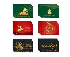 Anyingkai 24pcs Cartoline di Natale,Biglietti d Auguri con Busta, Biglietti di Auguri Natalizi,Cartoline Buon Natale,Biglietti di Buon Natale,Cartolina di Natale,Biglietti di Natale (Doro)