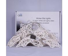 Qbis UK - Decorazioni natalizie luminose a LED, a forma di stelle di vimini, con timer, alimentate a batteria, per interni, 10 stelle con luce di colore bianco caldo