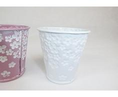 Vasetto Latta 6,5x6,5 Cm Contenitori Fiorati Addobbi Primavera Pasqua (Bianco Fiorato)