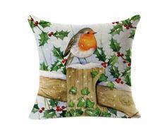 Feitong, federa decorativa natalizia per cuscino, in lino, quadrata
