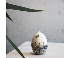 Decorazione candela uovo 90 X 70 mm Easter Bianco Grigio uovo di Pasqua