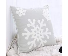 Justdolife Custodia Protettiva per Cuscino di Natale con Fiocco di Neve